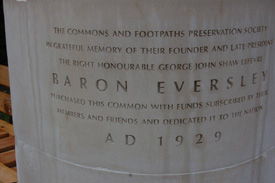 Inscription on the Eversley memorial seat at Hightown Common