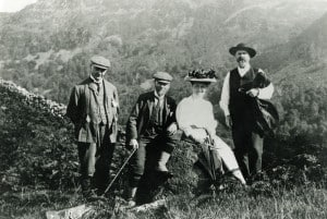 In the Lake District, c1900, l to r: Benny Horne (family friend and NT solicitor), Robert Hunter, his daughter Winifred and Canon Hardwick Rawnsley.  Photo: National Trust Images