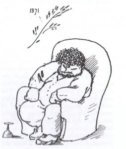 """Home again""  'William Morris sitting bored in an armchair' Caricature by Edward Burne-Jones after Morris's return from Iceland, 1873"
