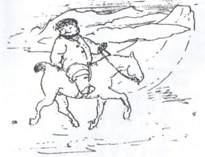 'William Morris on horseback in Iceland', caricature by Edward Burne-Jones