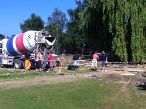 Construction begins on Dulwich sports ground, without planning permission, July 2013
