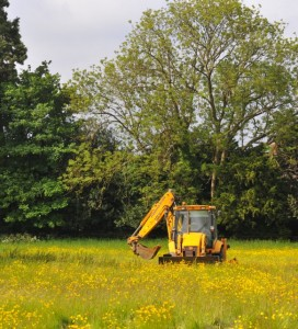 A digger carries out a reconnaisance on The Elms, historic-grazing land within the conservation area of Thame, Oxfordshire, which is threatened with development. Photo: Richard Jeffries.