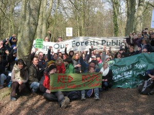 Rally to keep the forests public, at Friston Forest, East Sussex, March 2011