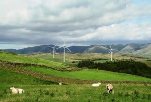 Photomontage of the three turbines from Fairthorns Road, west of the M6 motorway, looking north east, with the Howgill Fells behind.  Photo and montage: Mike Hall