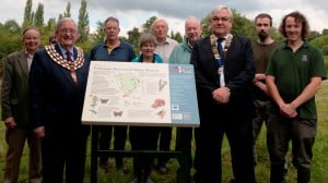 Representatives of the Kenilworth Lions Club, the Open Spaces Society, Warwick District Council and the Warwickshire Wildlife Trust at the new interpretation-board. Photo Warwickshire Wildlife Trust