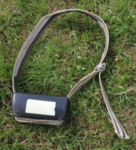 Cow collar with reflective strip in case it gets lost.