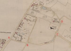 Part of the 1844 tithe map of Buckland, five miles south of Royston, Hertfordshire. Route A-B is today recorded as a footpath. B-C-D is unrecorded. Both have been applied for at restricted byway status. Credit: Karin Frapporti