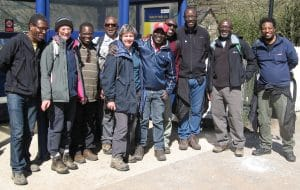 Max Ayamba's walking group, the inspiration for the Sheffield Environmental Movement, Edale station, April 2015
