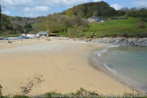 Maenporth Beach, registered as common except for the land above high-watermark. Copyright: N Chadwick under Creative Commons licence.