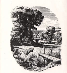 The frontispiece to the country code booklet, published in 1951 by the National Parks Commission. Drawing by James Lucas.