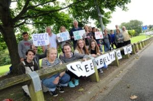 Rally to save Longridge playing field in Knutsford, now designated as local green space. Photo: Knutsford Guardian.