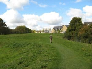 Looking north-west over the new green towards the RCV estate