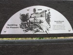 Detail of the plaque for the bench