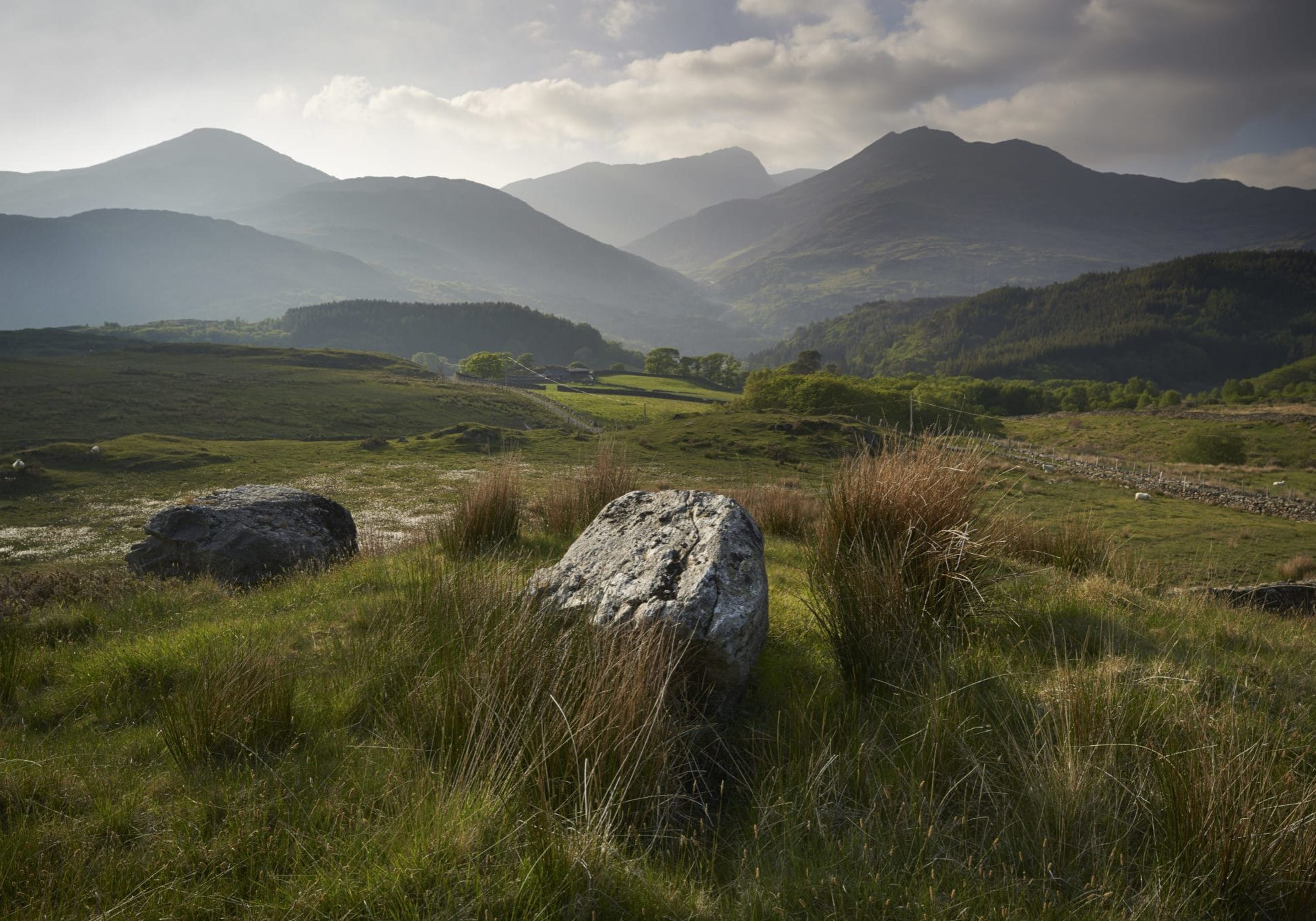 The Snowdonia peaks from the south with the National Trust's Hafod y Llan estate in the distance